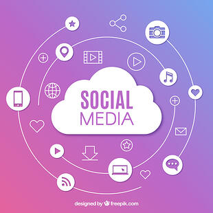 social media cloud and other social media related icons