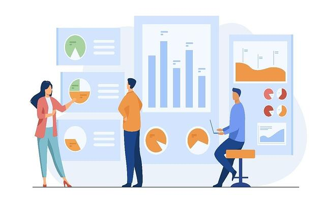 an animated image of one female and two male market researchers analyzing graphs and charts in front of them