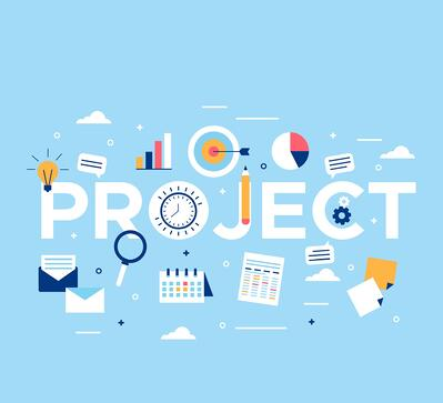 tiny icons of mails, calendar, press release, charts, goals, and messages depicting project management